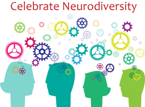 """Color image of four adult head silhouettes in shades of green with gears in all different colors and sizes around the top of them with the words """"Celebrate Neurodiversity"""" over the heading. Celebrating neurodiversity is the focus of my new blog for autistic and auspie adults, teens and students in Palo Alto, CA."""