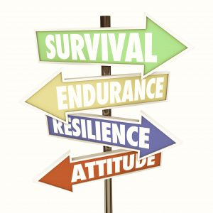 Image of a street direction sign with the following words for neurodiverse adults and teens with autistic traits: Survival, Endurance, Resilience, Attitude