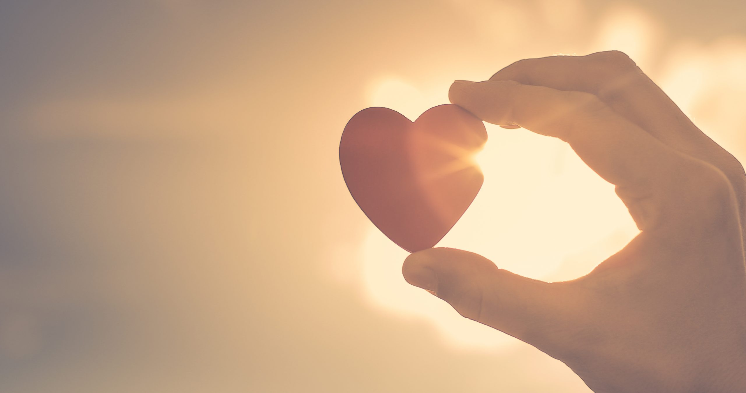 Image of a hand holding a heart during sunset representing self compassion as an autism parent. Begin online parent support group for Autism Parents in California with Open Doors Therapy