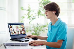 teen with autism meets with his peers during online group therapy in California for online autism therapy in California with Open Doors Therapy