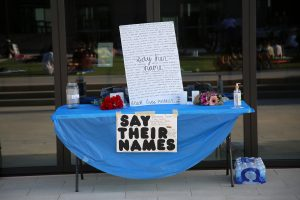 table at the Black Lives matter protest with a sign that says say their names representing intersectionality between race and autism. Begin online autism therapy in California with autism therapist Dr. Tasha Oswald 94306