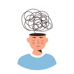 illustration of a man with closed eyes and a bunch of doodles above his head representing the confusion you may feel if one of your parts is overpowering your Self. Learn more about internal family systems IFS and autism therapy in California from an autism therapist at Open Doors Therapy