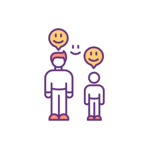infographic of a parent and child with smiley faces above them representing autism parent acceptance and support. Get online autism therapy in California at Open Doors Therapy
